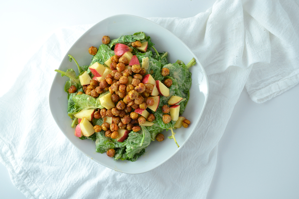Kale, Apple, + Roasted Chickpea Salad with Garlic Tahini Dressing ...
